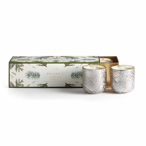 Illume Mini Luxe Sanded Mercury Votives Gift Set Balsam & Cedar
