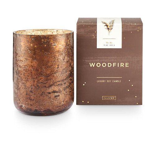 Illume Luxe Sanded Mercury Glass 225g Candle Woodfire