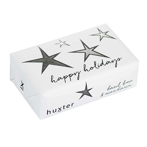 HUXTER BAR SOAP - HAPPY HOLIDAYS - STARS - SILVER FOIL