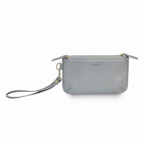 Tonic Luxe Twin Zip Pouch Silver Metallic