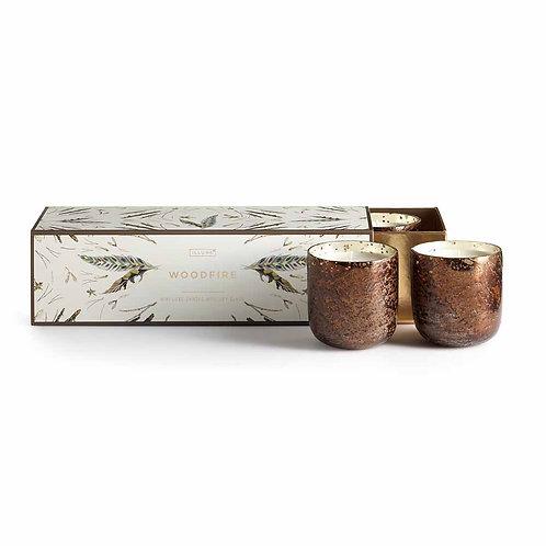 Illume Mini Luxe Sanded Mercury Votives Gift Set Woodfire
