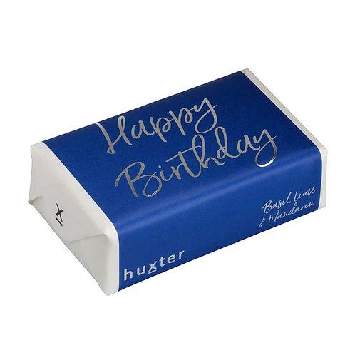 HUXTER BAR SOAP HAPPY BIRTHDAY NAVY SILVER FOIL