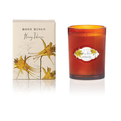 Rosy Rings Signature Glass Candle 75hr - Honey Tobacco