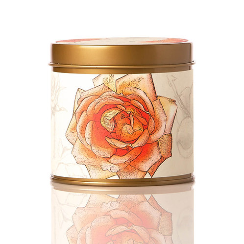 Rosy Rings Soy Tin Candle Apricot Rose 50 Hr