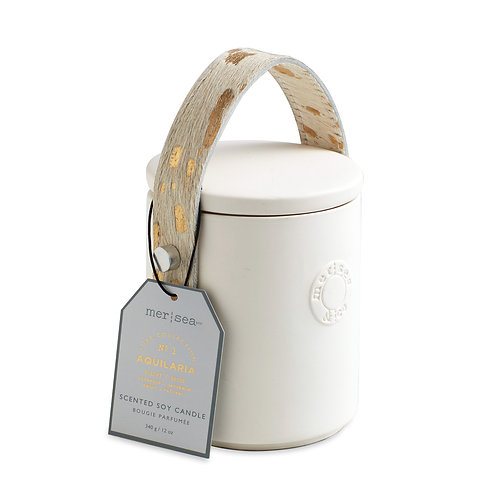 Mer-Sea Luxe 12oz Cow Hair Handle Candle - Aquilaria