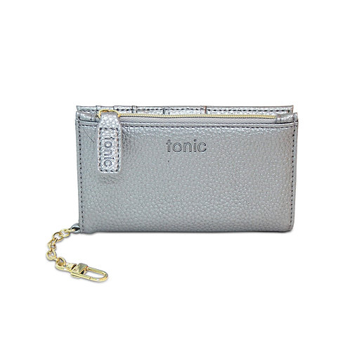 Tonic Luxe Key Chain Wallet Silver Metallic