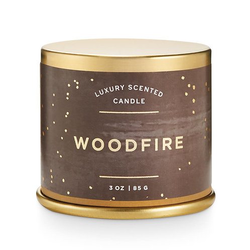 Illume Demi Vanity Tin Candle Woodfire