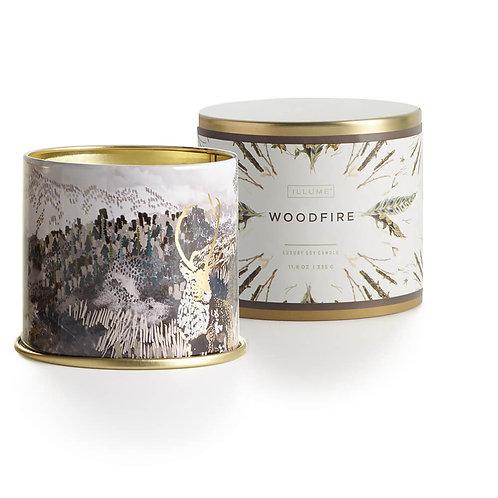 Illume Noble Holiday Large Tin Candle - Woodfire
