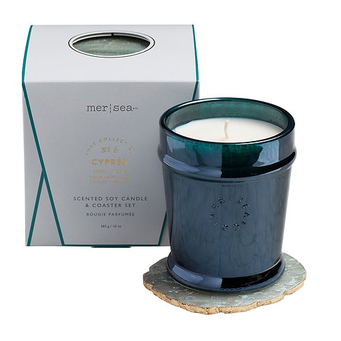 Mer-Sea Luxe 10oz Candle with Quartz Coaster - Cyprès