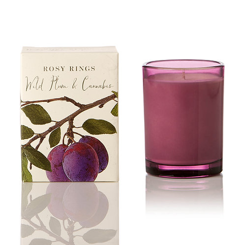 Rosy Rings Botanical Glass Candle 85hr-Wild Plum & Cannabis
