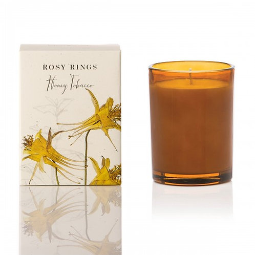 Rosy Rings Botanical Glass Candle - 85hr Honey Tobacco