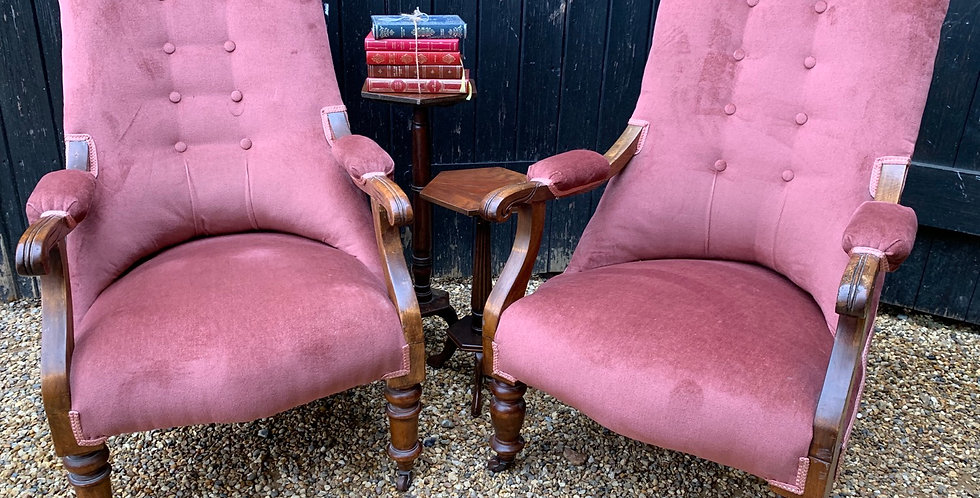 Elegant Pair Of Victorian Button Back Armchairs