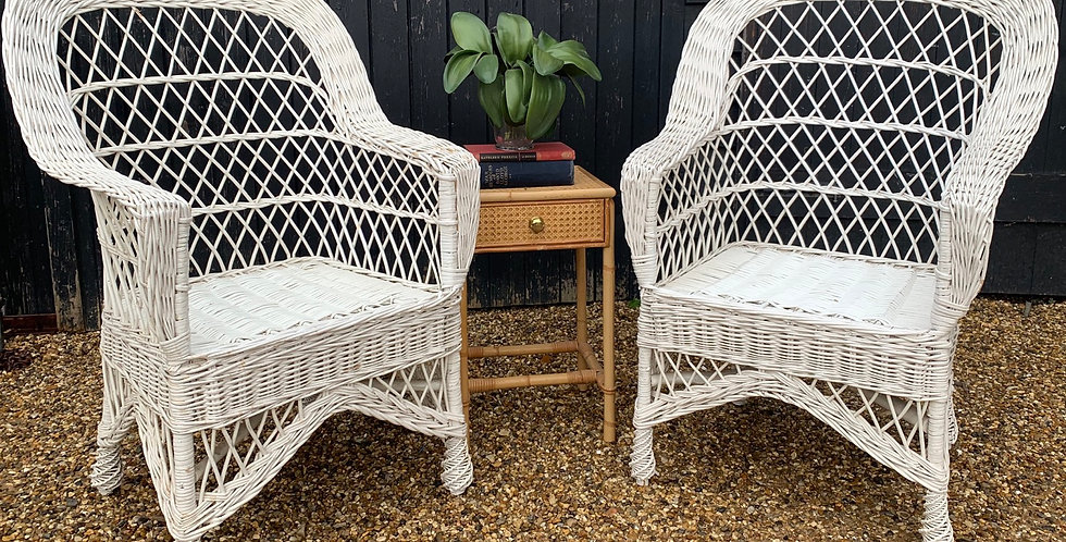 Pair Of White Painted Wicker Armchairs