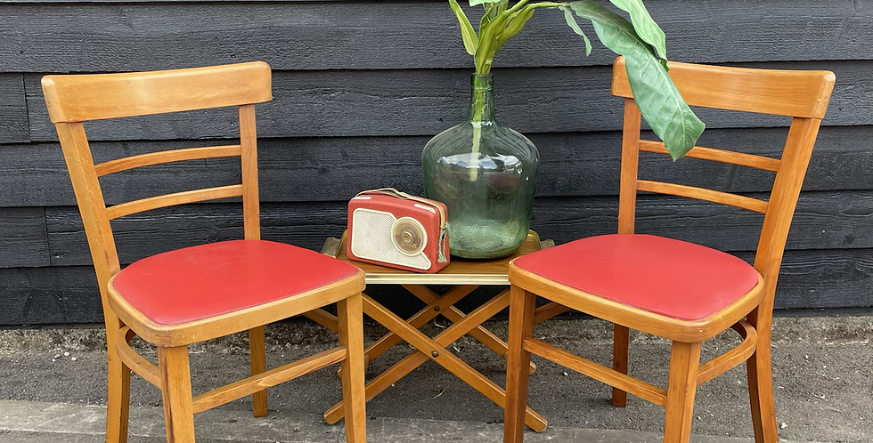 Pair Of Vintage Utility Beech Kitchen Chairs
