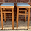 Thumbnail: Pair Of Vintage 1950's Beech Kitchen Stools With Baby  Blue Seat Pads