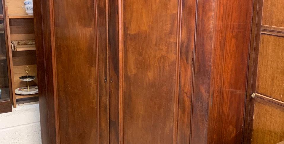 Handsome Victorian Mahogany & Veneer Large Wardrobe