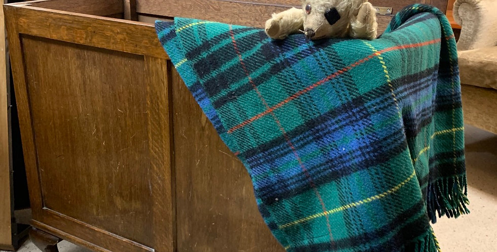 Large Vintage Oak & Veneer Blanket Chest / Toy Chest