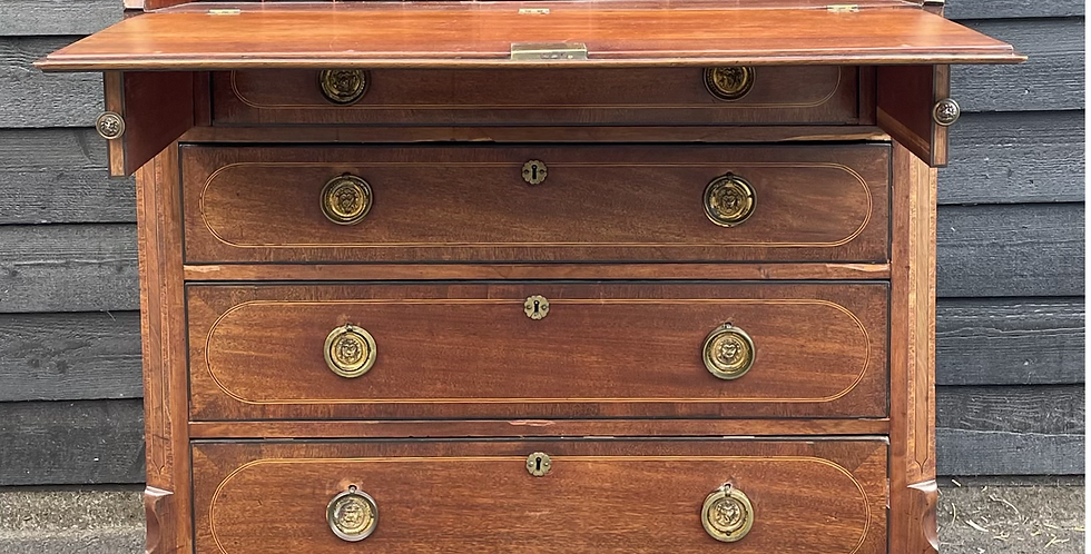 Large Handsome 19th Century Mahogany & Veneer Slope Fronted Writing Bureau