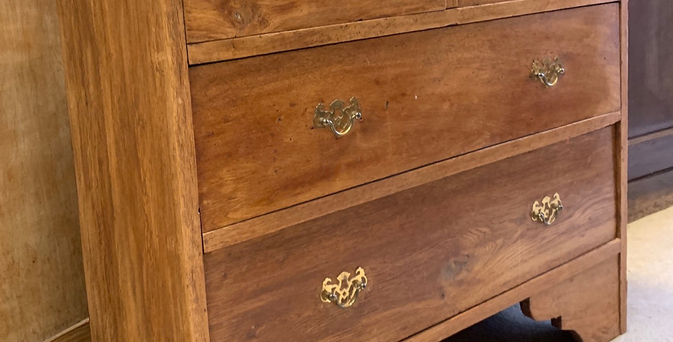 Small Narrow Vintage Oak Chest Of Drawers