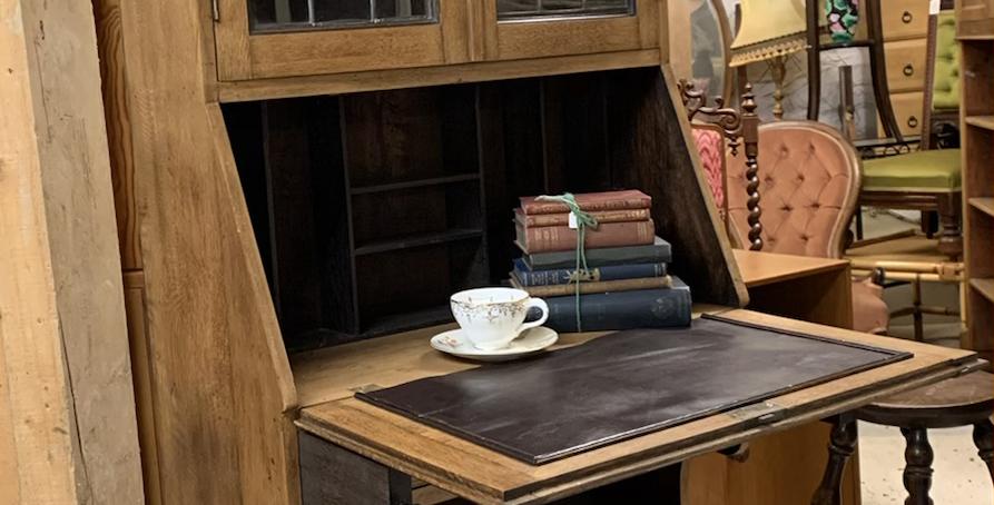 Small Edwardian Arts & Crafts Oak Escritoire Bureau Bookcase
