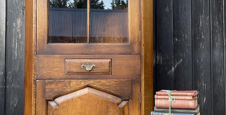 Fine Quality Joined Oak Glazed Freestanding Corner Display Cabinet