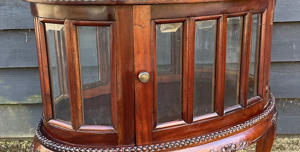 Elegant Hardwood Oval Cocktail Drinks  Cabinet With Butlers Tray