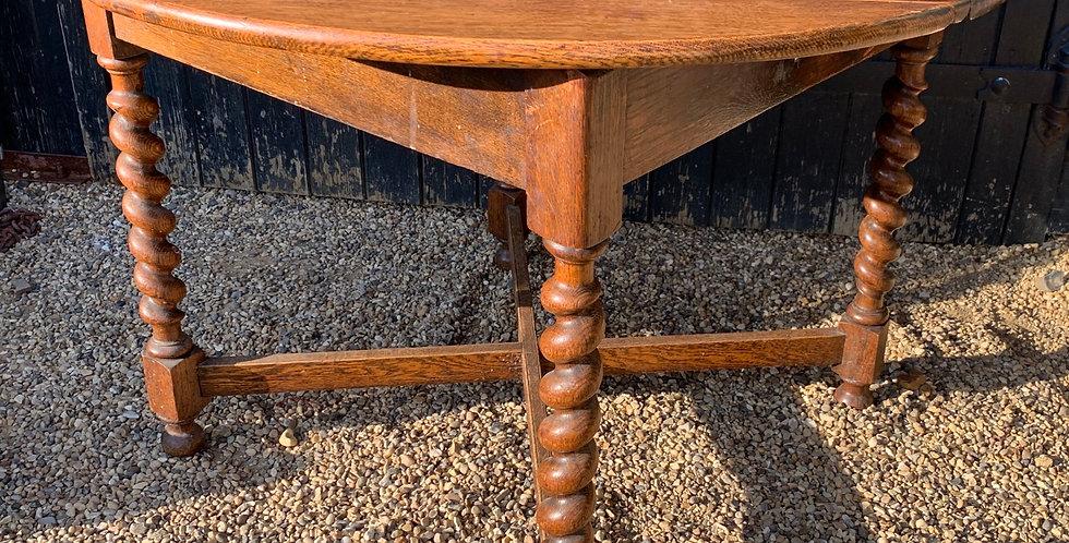 Vintage 1930's Oak Twist Drop Flap Supper Dining Table With Barley Twist Legs