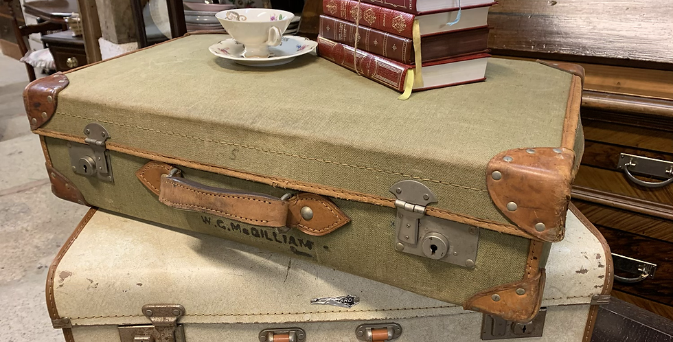 Vintage 1960's Green Canvas & Leather Bound Suitcase