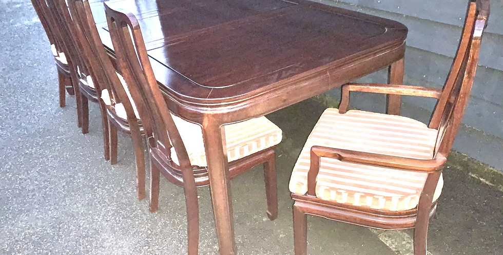 Good Quality Chinese Hardwood Extending Dining Table & 8 Chairs inc Carvers