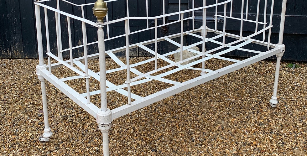 Victorian White Painted Metal Baby's Cot