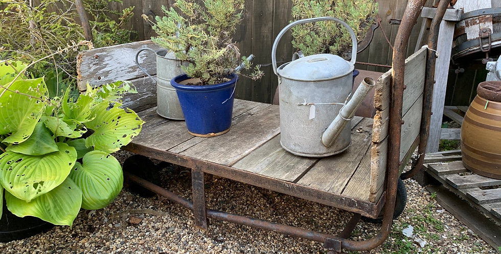 Vintage Industrial Iron Double Ended Garden Trolley With Pine Panels