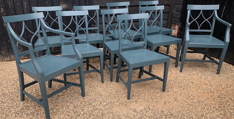 Set Of Ten Teal Green Painted Dining Chairs