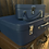 Thumbnail: Stack Of 2 Lovely Vintage Blue Leather Antler Suitcase & Vanity Case With Key