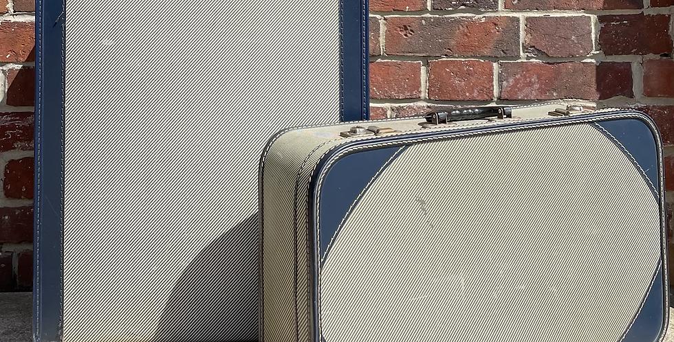 Two Vintage Skyline Suitcases Decorators Piece Or Wedding Postbox