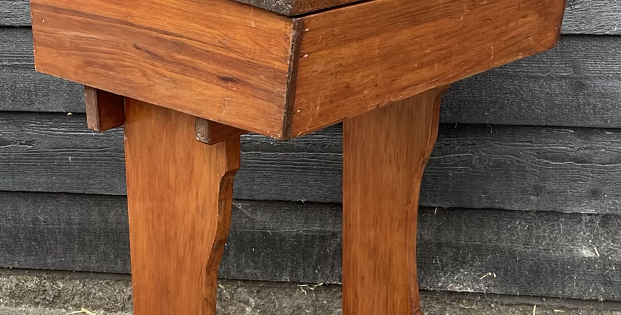 Vintage Stained Pine & Oak Old School Desk