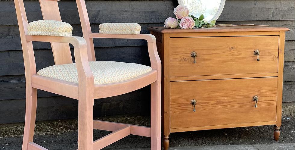 Pretty Vintage Dusky Pink Painted Carver Armchair