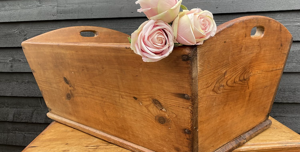 Charming Victorian Pine Cradle Crib / Rustic Trug Basket