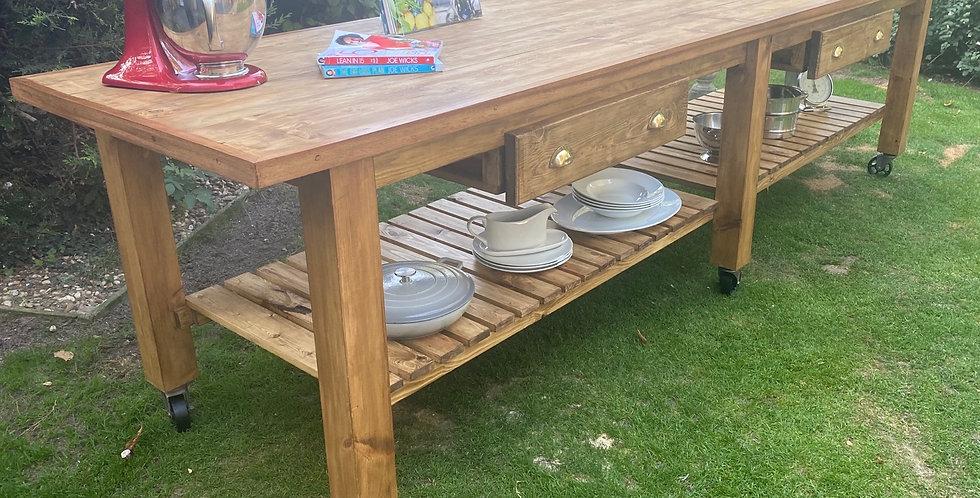 New Handmade Fantastic Super Long Rustic Reclaimed Kitchen Island