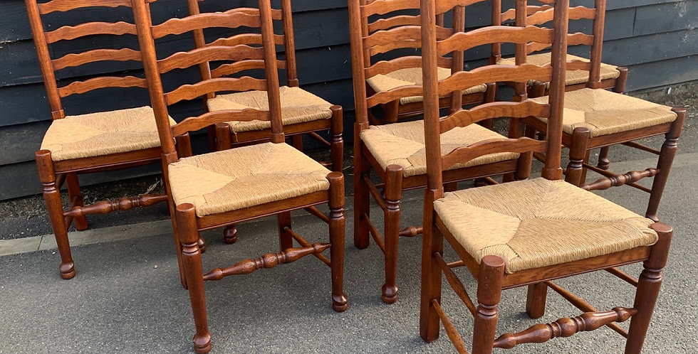 Set of 8 Oak Lancashire Ladder Back Dining Chairs