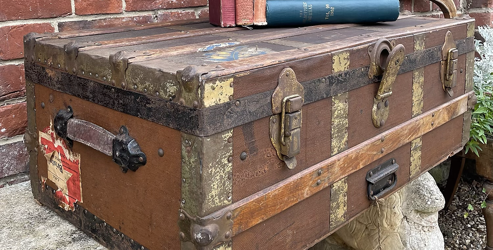 Traditional Vintage Metal & Wood Bound Travel Trunk With Labels