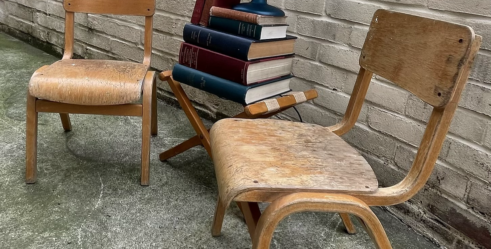 Pair Of Vintage ESA Children's School Desk Stacking Chairs