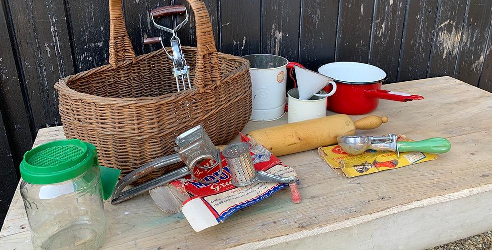 Vintage Wicker Grocery Basket Full Of Kitchenalia