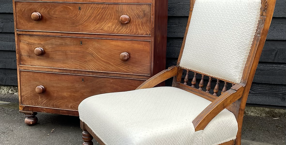Edwardian Walnut Nursing Chair With Later Cream Upholstery