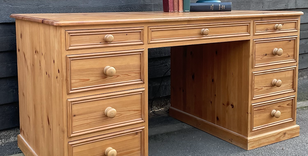 Large Solid Pine Twin Pedestal Kneehole Writing Desk