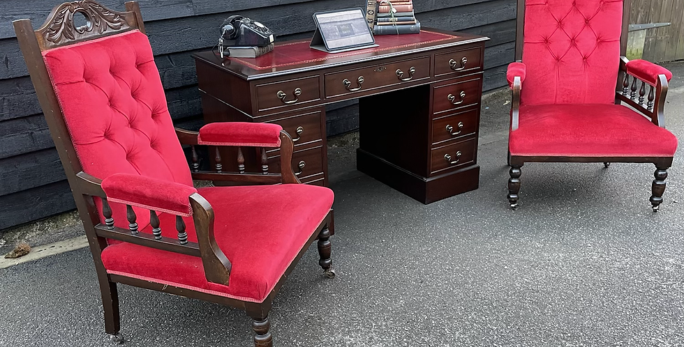 Pair Of Late Victorian Relief Carved Parkour Armchairs In Red Velvet Upholstery