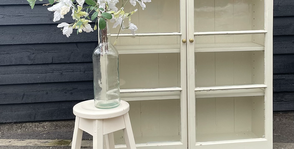 Old Painted Pine Glazed Bookcase Display Cabinet
