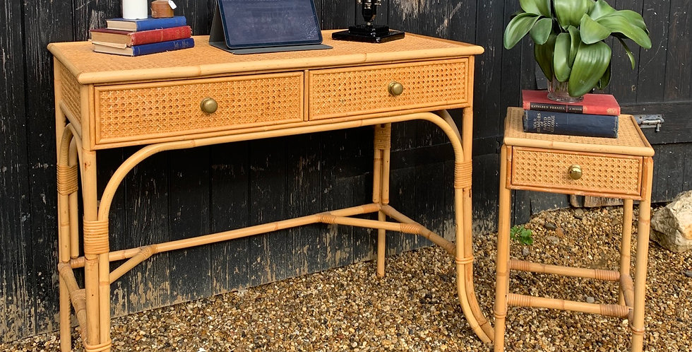 Vintage Bamboo & Rattan Dressing Table / Desk / Console Table
