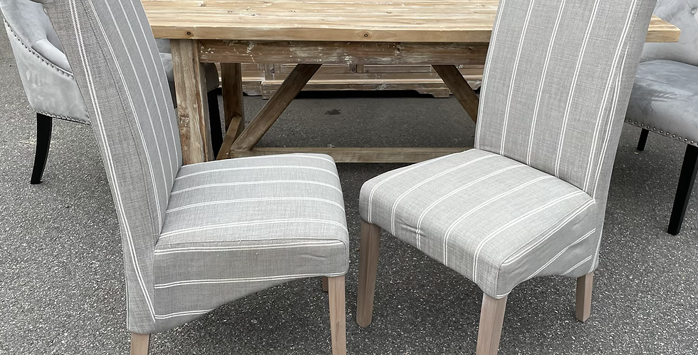 Pair Of Grey Pinstripe Scroll Back Italian Dining Chairs