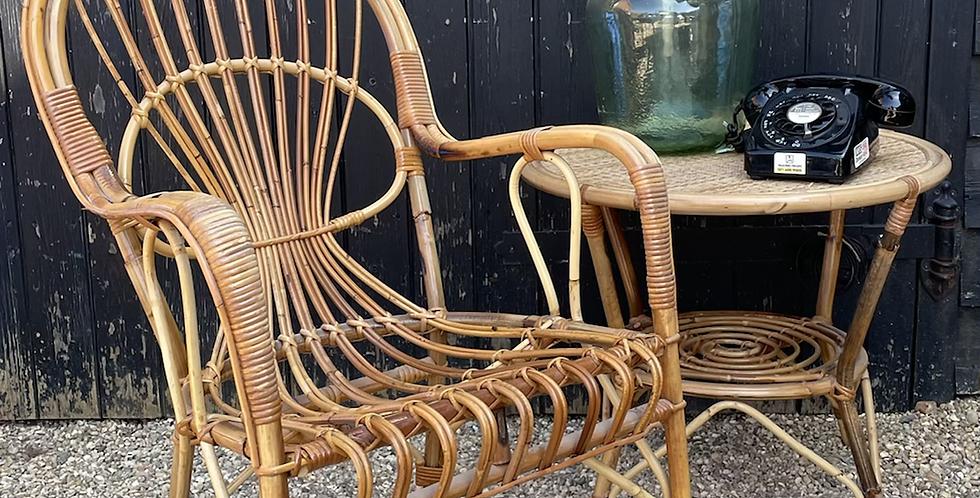 Vintage Retro Bamboo Armchair & Table Set