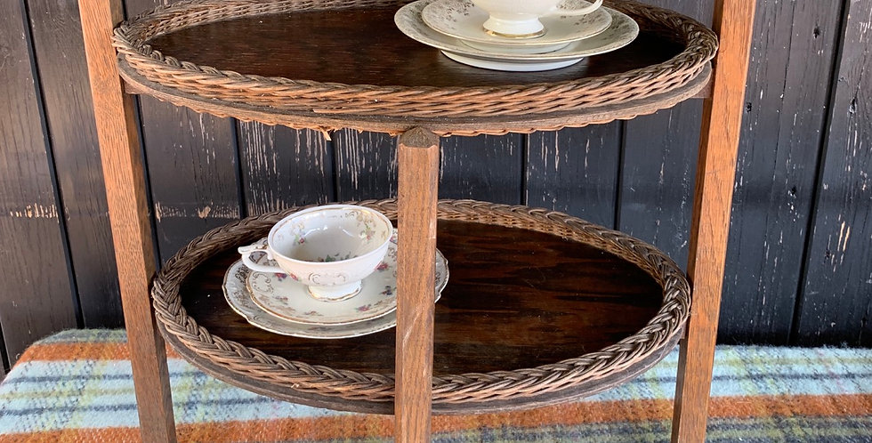 Pretty Vintage Oak Stand With Oval Trays